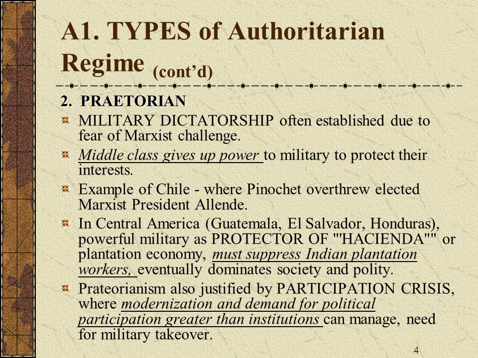 4 A1.TYPES of Authoritarian Regime (cont'd) 2.