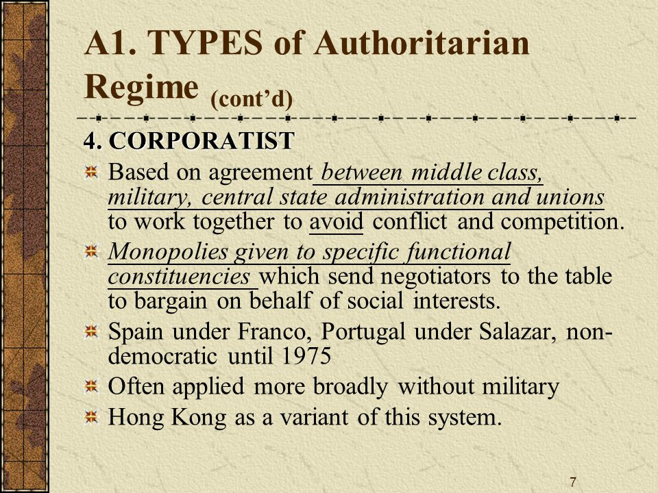 7 A1.TYPES of Authoritarian Regime (cont'd) 4.