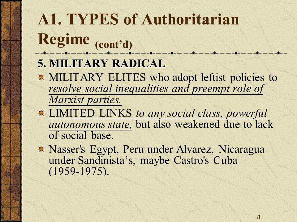 8 A1.TYPES of Authoritarian Regime (cont'd) 5.