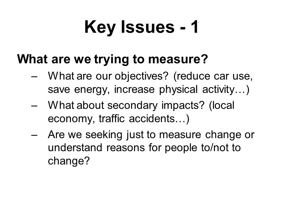 Key Issues - 1 What are we trying to measure. –What are our objectives.