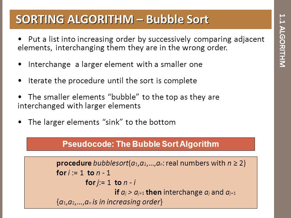1.1 ALGORITHM SORTING ALGORITHM – Bubble Sort SORTING ALGORITHM – Bubble Sort Pseudocode: The Bubble Sort Algorithm procedure bubblesort(a 1,a 2,…,a n