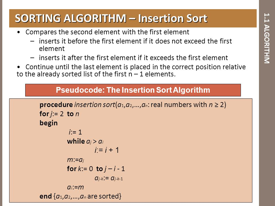 1.1 ALGORITHM SORTING ALGORITHM – Insertion Sort SORTING ALGORITHM – Insertion Sort Pseudocode: The Insertion Sort Algorithm procedure insertion sort(