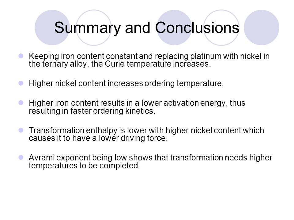 Summary and Conclusions Keeping iron content constant and replacing platinum with nickel in the ternary alloy, the Curie temperature increases.