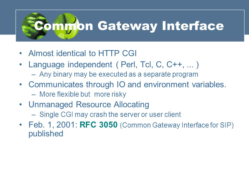 Common Gateway Interface Almost identical to HTTP CGI Language independent ( Perl, Tcl, C, C++,... ) –Any binary may be executed as a separate program