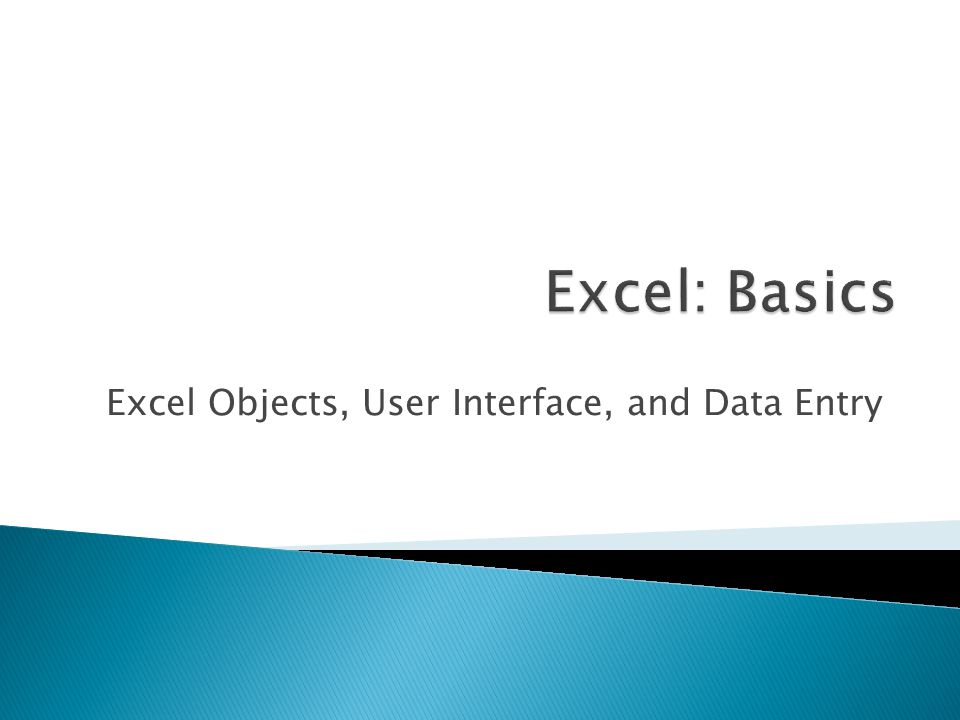 Excel Objects, User Interface, and Data Entry