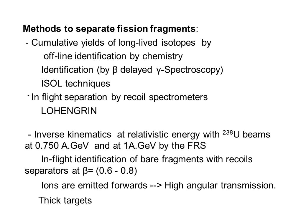 Conclusions Isotopic cross sections of fission residues are all measured –down to100 μB- with a precision better than 20%.