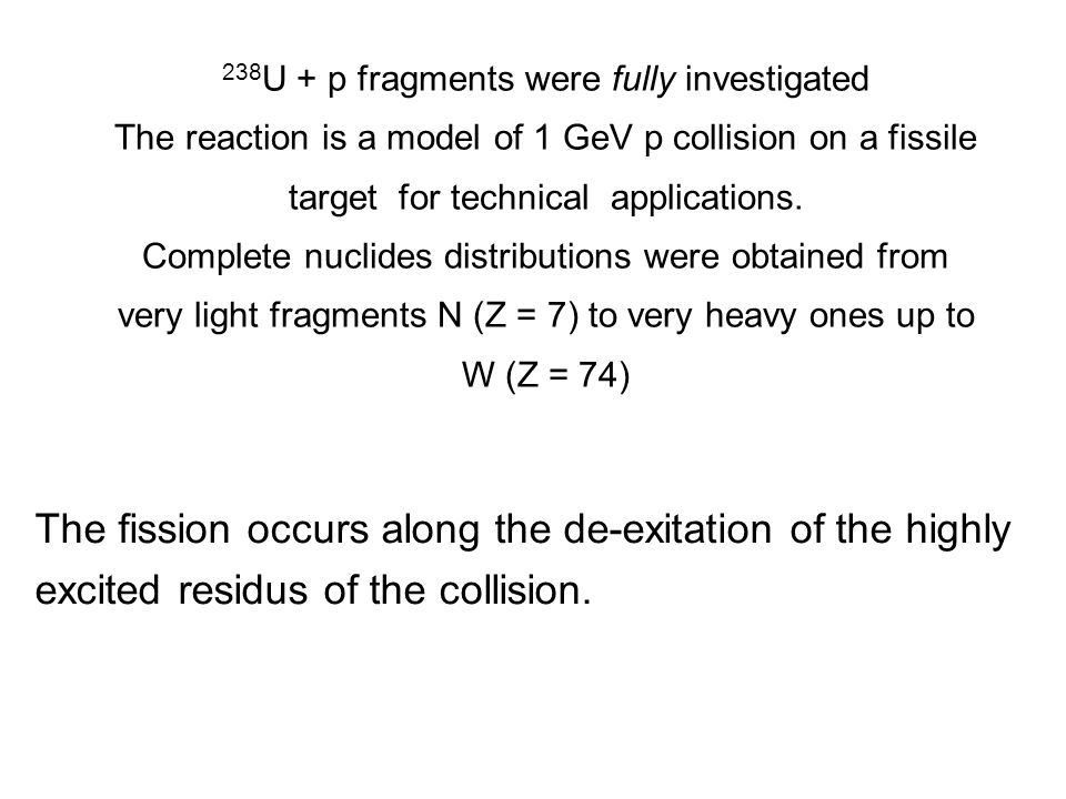 238 U + p fragments were fully investigated The reaction is a model of 1 GeV p collision on a fissile target for technical applications.