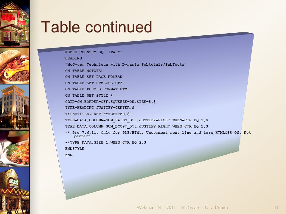 Webinar - Mar 2011McGyver - David Smith11 Table continued WHERE COUNTRY EQ ITALY HEADING McGyver Technique with Dynamic Subtotals/SubFoots ON TABLE NOTOTAL ON TABLE SET PAGE NOLEAD ON TABLE SET HTMLCSS OFF ON TABLE PCHOLD FORMAT HTML ON TABLE SET STYLE * GRID=ON,BORDER=OFF,SQUEEZE=ON,SIZE=8,$ TYPE=HEADING,JUSTIFY=CENTER,$ TYPE=TITLE,JUSTIFY=CENTER,$ TYPE=DATA,COLUMN=SUM_SALES_DTL,JUSTIFY=RIGHT,WHEN=CTR EQ 1,$ TYPE=DATA,COLUMN=SUM_DCOST_DTL,JUSTIFY=RIGHT,WHEN=CTR EQ 1,$ -* Pre 7.6.11.
