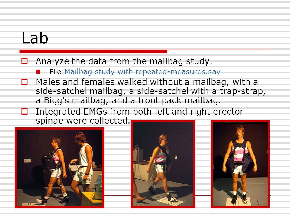 Lab  Analyze the data from the mailbag study. File: Mailbag study with repeated-measures.sav Mailbag study with repeated-measures.sav  Males and fem