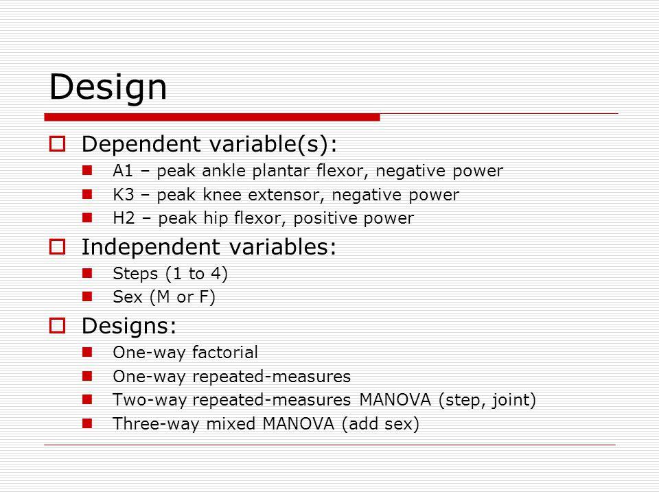 Design  Dependent variable(s): A1 – peak ankle plantar flexor, negative power K3 – peak knee extensor, negative power H2 – peak hip flexor, positive