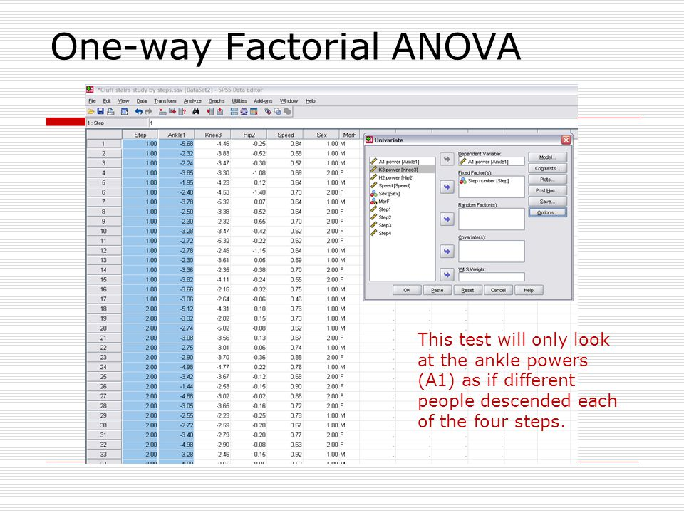 MANOVA: Example: Repeated-measures The MANOVA or multivariate analysis of variance tests the hypothesis that one or more independent variables, or factors, have an effect on a set of two or more dependent variables.