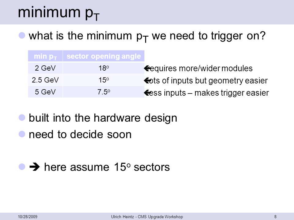 minimum p T what is the minimum p T we need to trigger on.