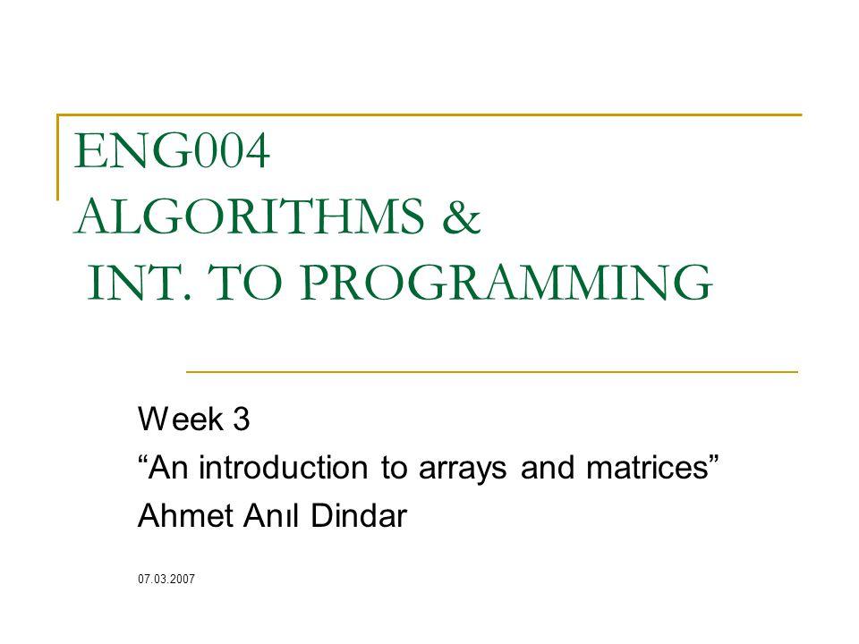ENG004 ALGORITHMS & INT.