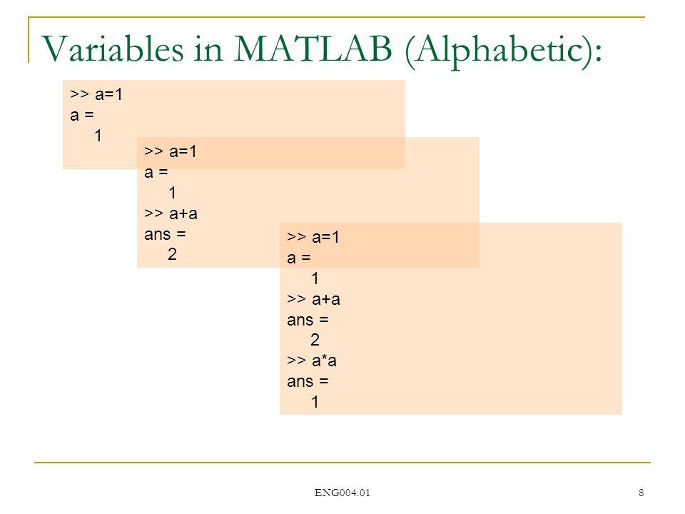 ENG004.01 8 >> a=1 a = 1 >> a=1 a = 1 >> a+a ans = 2 Variables in MATLAB (Alphabetic): >> a=1 a = 1 >> a+a ans = 2 >> a*a ans = 1