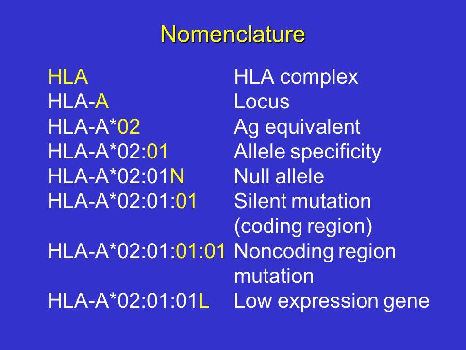 Nomenclature HLAHLA complex HLA-ALocus HLA-A*02Ag equivalent HLA-A*02:01Allele specificity HLA-A*02:01NNull allele HLA-A*02:01:01Silent mutation (coding region) HLA-A*02:01:01:01Noncoding region mutation HLA-A*02:01:01LLow expression gene