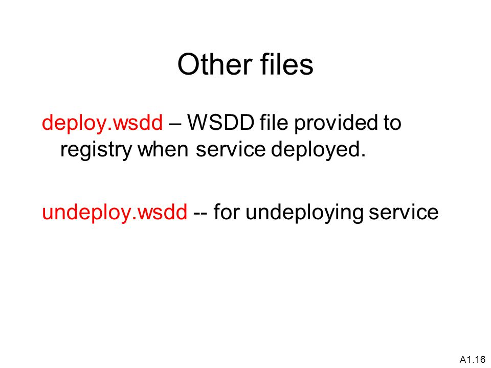 A1.16 Other files deploy.wsdd – WSDD file provided to registry when service deployed.