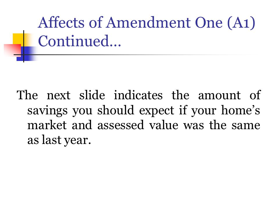 Affects of Amendment One (A1) Continued… The next slide indicates the amount of savings you should expect if your home's market and assessed value was the same as last year.
