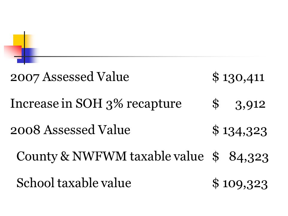 2007 Assessed Value$ 130,411 Increase in SOH 3% recapture$ 3,912 2008 Assessed Value$ 134,323 County & NWFWM taxable value$ 84,323 School taxable value$ 109,323