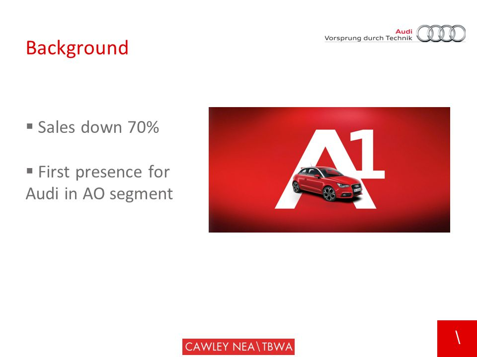\ Background  Sales down 70%  First presence for Audi in AO segment