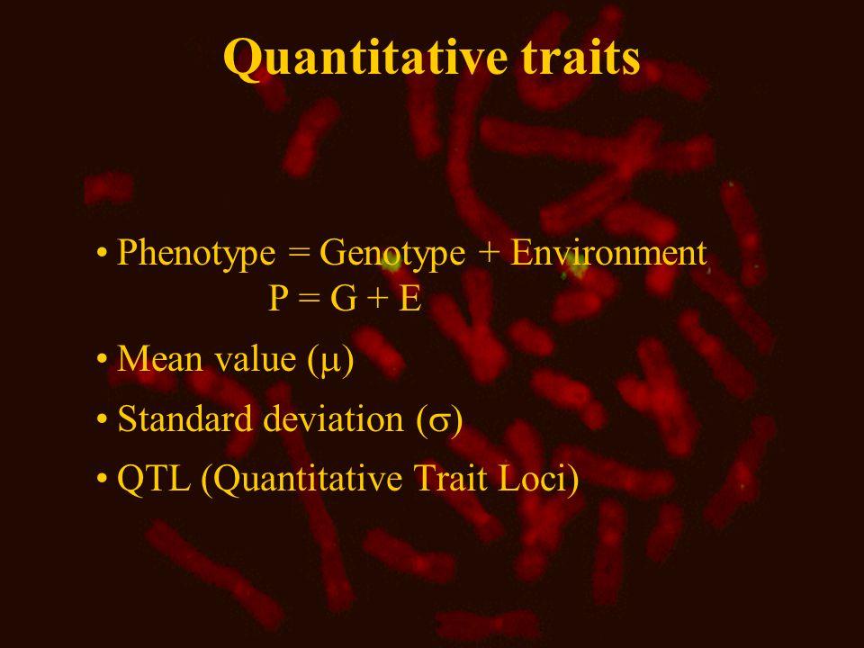 Quantitative traits, breeding value and heritability Fat % in SDM: Mean value  Standard deviation (  Fat %  in Jersey: Mean value 