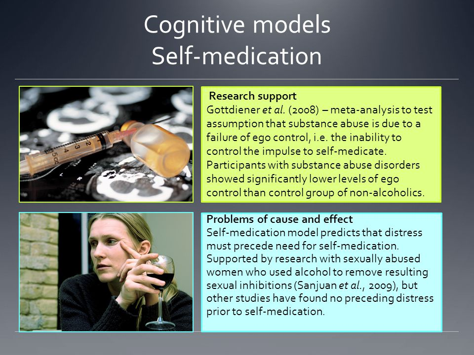 Cognitive models Self-medication Research support Gottdiener et al.