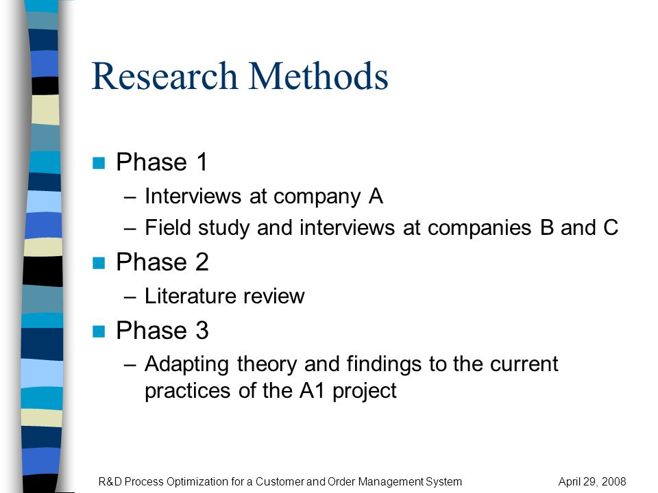 Software Process Models 1(4) Comparison R&D Process Optimization for a Customer and Order Management SystemApril 29, 2008 Comparison based on the literature: Scrum is the most suitable process model for A1 development Sources: [Abr02] [Agi08] [Pre05] [Sch02] [Sch02b] [Som06] [Tha05] [Vli04]