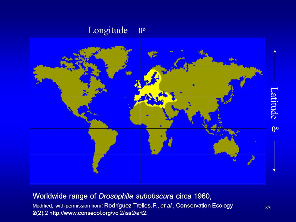 23 Worldwide range of Drosophila subobscura circa 1960, Modified, with permission from : Rodríguez-Trelles, F., et al., Conservation Ecology 2(2):2 http://www.consecol.org/vol2/iss2/art2.