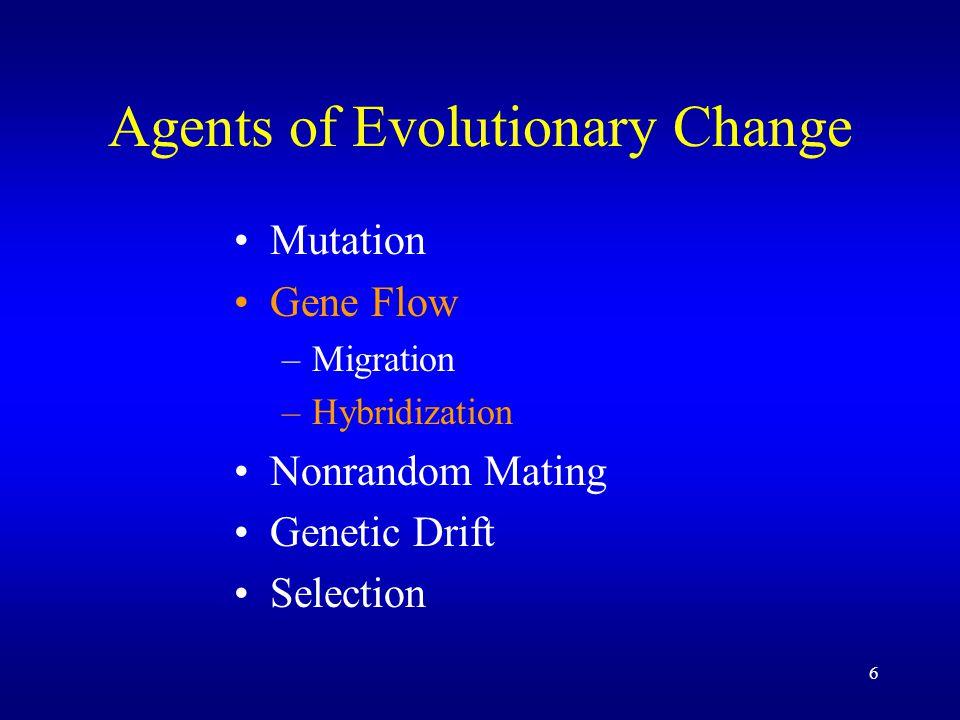 7 Agents of Evolutionary Change Mutation Gene Flow Nonrandom Mating Genetic Drift Selection