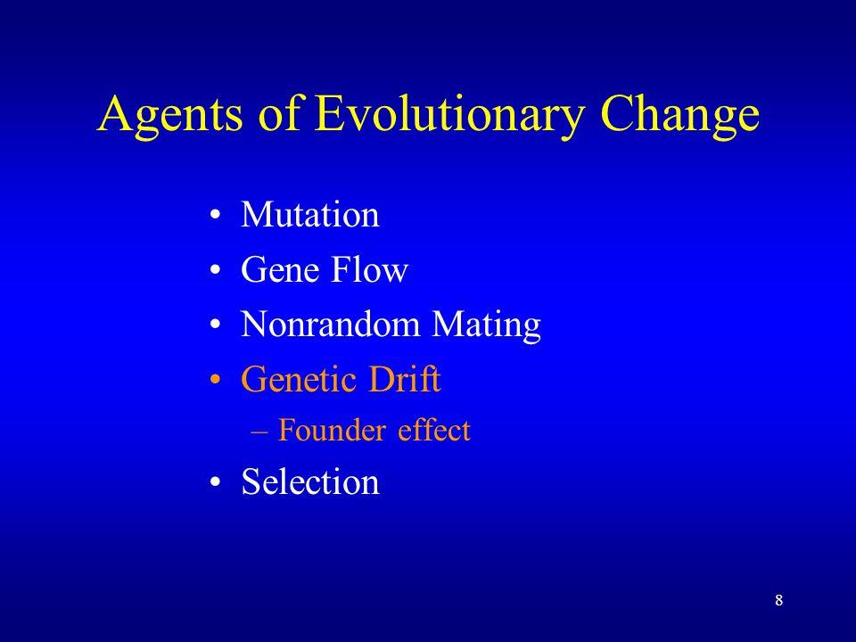 8 Agents of Evolutionary Change Mutation Gene Flow Nonrandom Mating Genetic Drift –Founder effect Selection