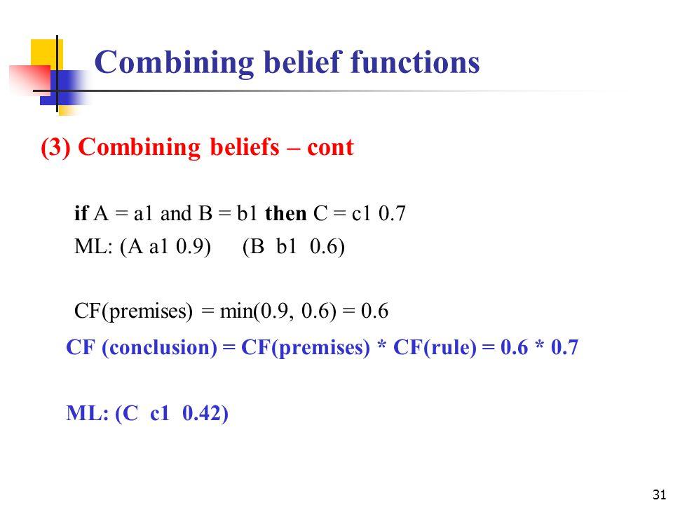 Combining belief functions 31 (3) Combining beliefs – cont if A = a1 and B = b1 then C = c1 0.7 ML: (A a1 0.9)(B b1 0.6) CF(premises) = min(0.9, 0.6) = 0.6 CF (conclusion) = CF(premises) * CF(rule) = 0.6 * 0.7 ML: (C c1 0.42)