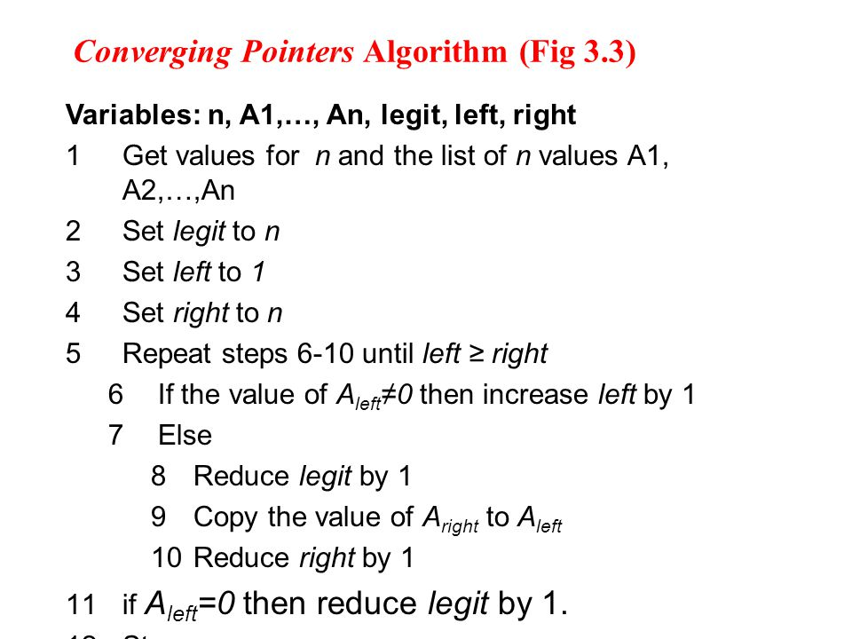 Converging Pointers Algorithm (Fig 3.3) Variables: n, A1,…, An, legit, left, right 1Get values for n and the list of n values A1, A2,…,An 2Set legit to n 3Set left to 1 4Set right to n 5Repeat steps 6-10 until left ≥ right 6 If the value of A left ≠0 then increase left by 1 7 Else 8Reduce legit by 1 9Copy the value of A right to A left 10Reduce right by 1 11if A left =0 then reduce legit by 1.