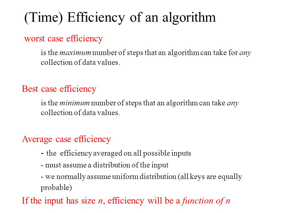 (Time) Efficiency of an algorithm worst case efficiency is the maximum number of steps that an algorithm can take for any collection of data values.