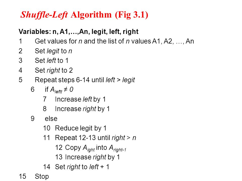 Shuffle-Left Algorithm (Fig 3.1) Variables: n, A1,…,An, legit, left, right 1Get values for n and the list of n values A1, A2, …, An 2Set legit to n 3Set left to 1 4Set right to 2 5Repeat steps 6-14 until left > legit 6if A leftt ≠ 0 7Increase left by 1 8Increase right by 1 9else 10Reduce legit by 1 11Repeat 12-13 until right > n 12 Copy A ight into A right-1 13 Increase right by 1 14Set right to left + 1 15Stop