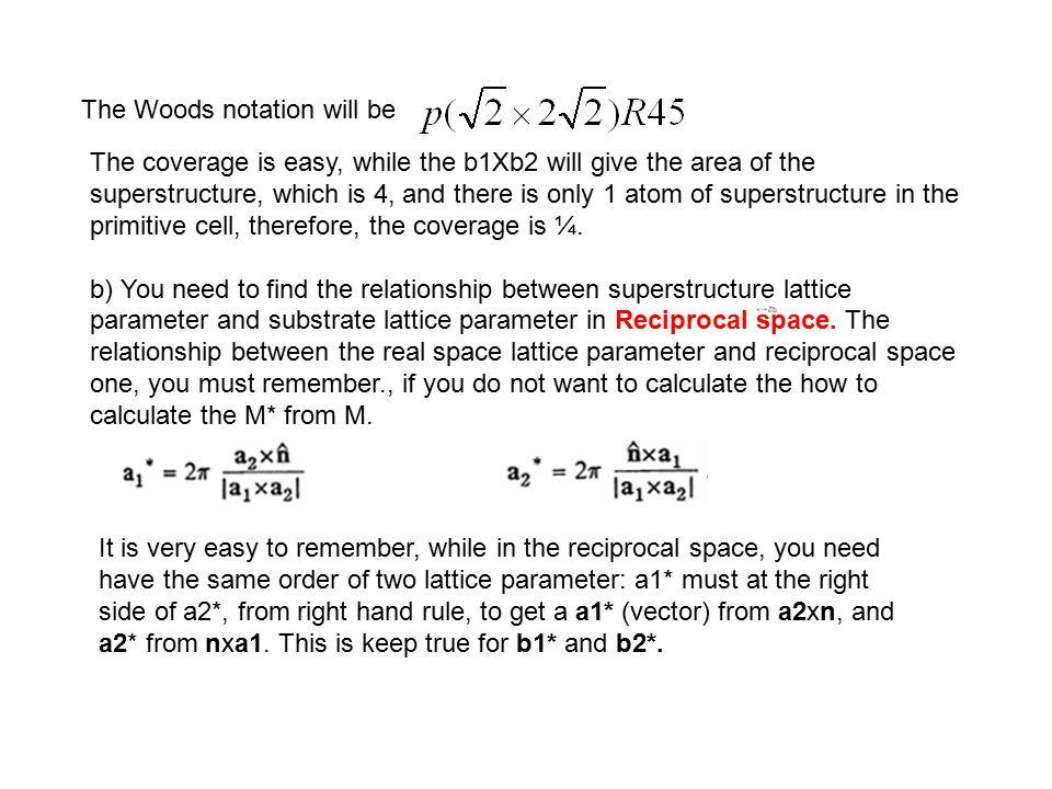 First we try to get b1* b1*=2πb2 x n/׀(b1 x b2)׀ While, b1=a1+a2, b2= -2a1+2a2, ׀(b1 x b2)׀=4a1 2, therefore, b1*= 2π(-2a1+2a2) x n/4a1 2, While a1*=2πa2 x n/׀(a1 x a2)׀= 2πa2 x n/a1 2 and a2*=2πn x a1/׀(a1 x a2)׀= 2πn x a1/a1 2 you can get b1*=1/2 a2*+1/2 a1* For b2* b2*= 2πn x b1/׀(b1 x b2)׀ = 2πn x (a1+a2)/4a1 2 =1/4 a2* - 1/4 a1* Notice the sign.