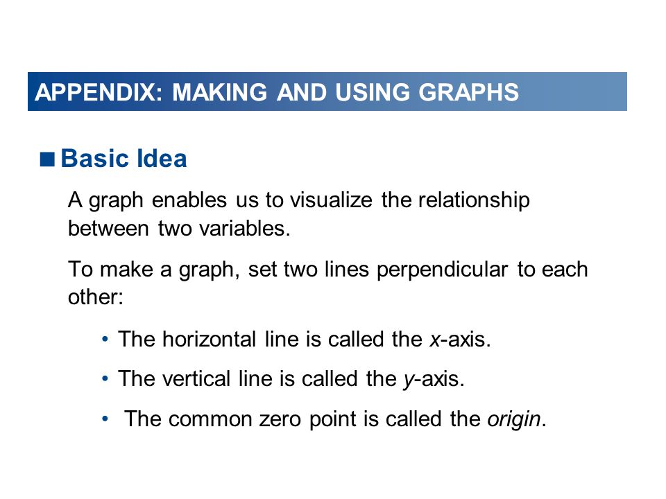  Basic Idea A graph enables us to visualize the relationship between two variables.