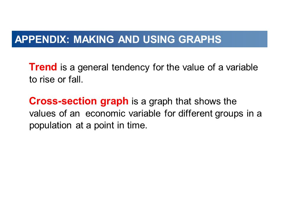 APPENDIX: MAKING AND USING GRAPHS Trend is a general tendency for the value of a variable to rise or fall.