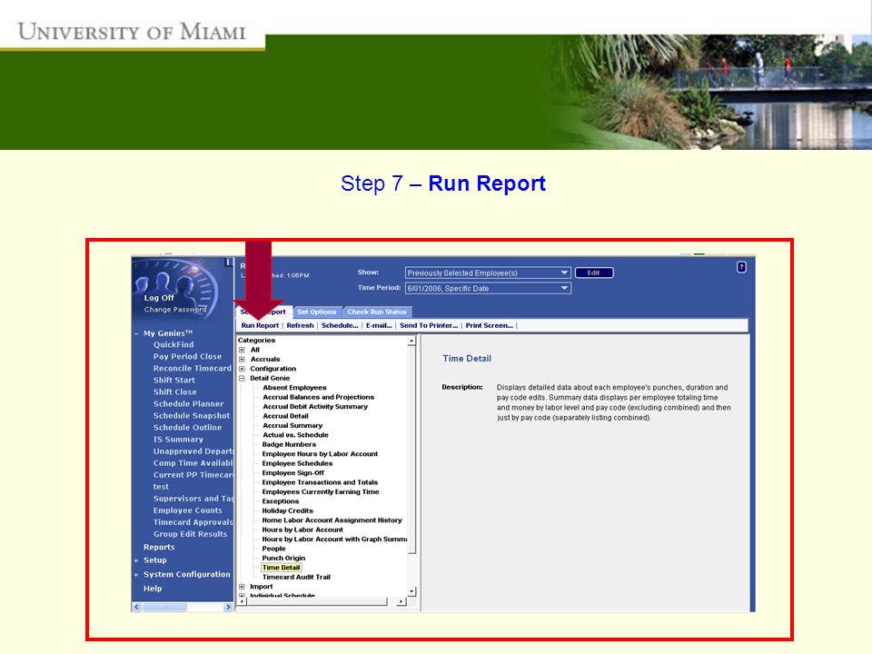 Step 7 – Run Report