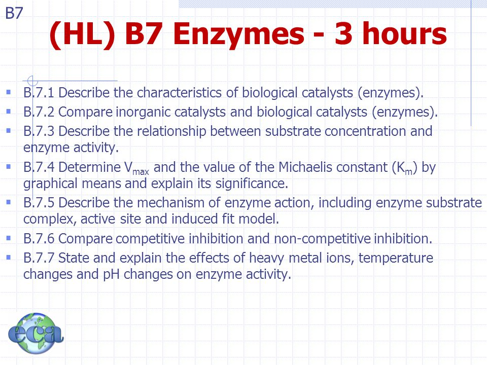 B7 B7.1 – Biological Catalysts  B.7.1 Describe the characteristics of biological catalysts (enzymes).