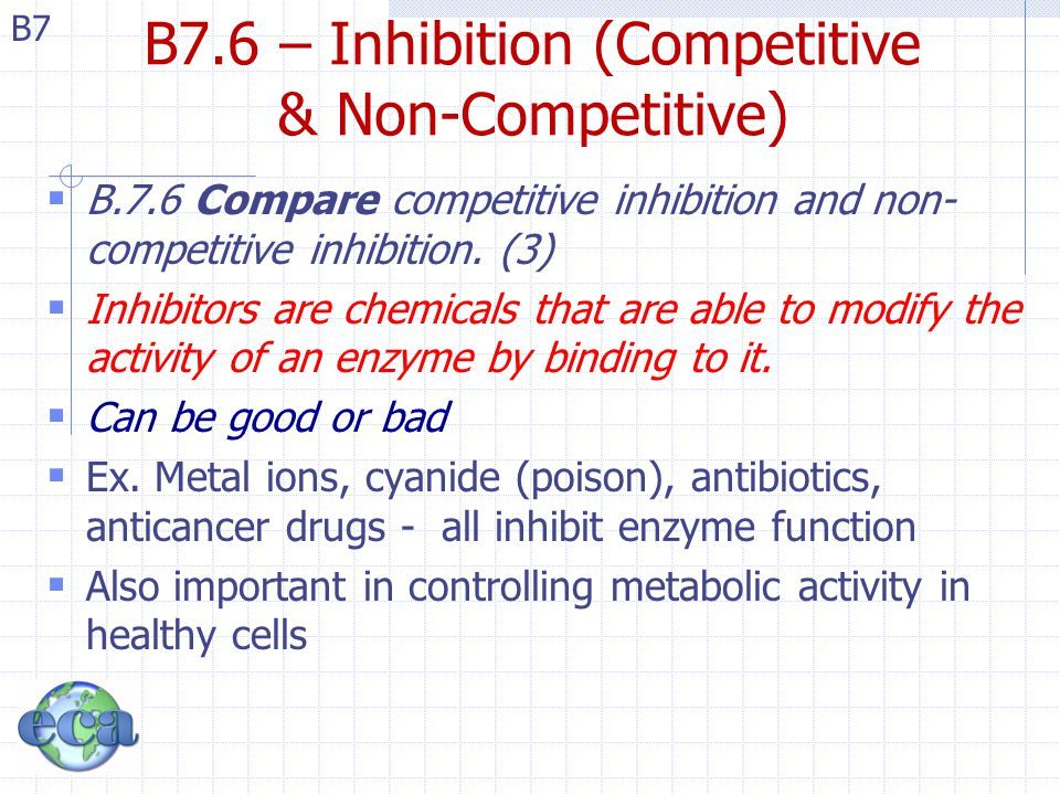 B7 B7.6 – Inhibition (Competitive & Non-Competitive)  B.7.6 Compare competitive inhibition and non- competitive inhibition. (3)  Inhibitors are chem