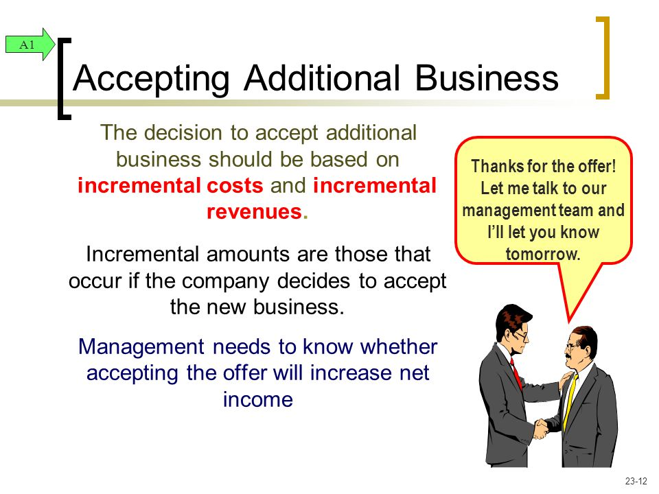 The decision to accept additional business should be based on incremental costs and incremental revenues. Incremental amounts are those that occur if