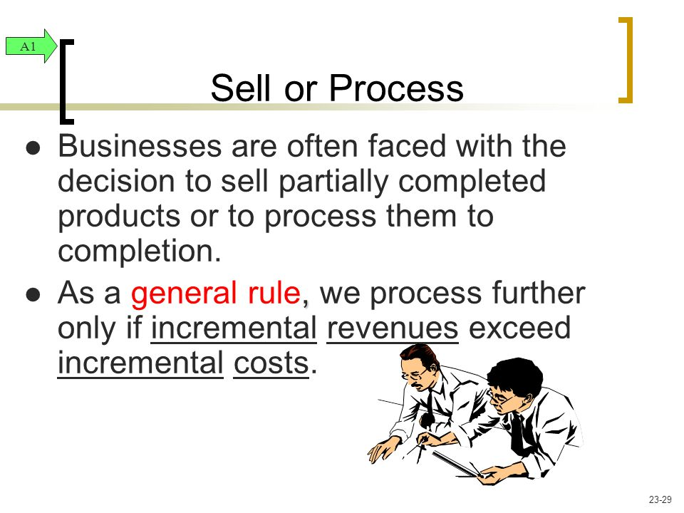 Businesses are often faced with the decision to sell partially completed products or to process them to completion., As a general rule, we process fur