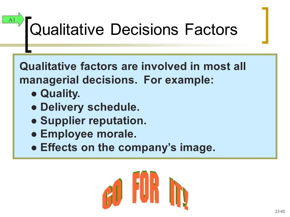 Qualitative factors are involved in most all managerial decisions. For example: Quality. Delivery schedule. Supplier reputation. Employee morale. Effe