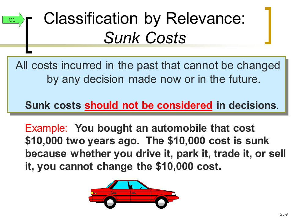 All costs incurred in the past that cannot be changed by any decision made now or in the future. Sunk costs should not be considered in decisions. All