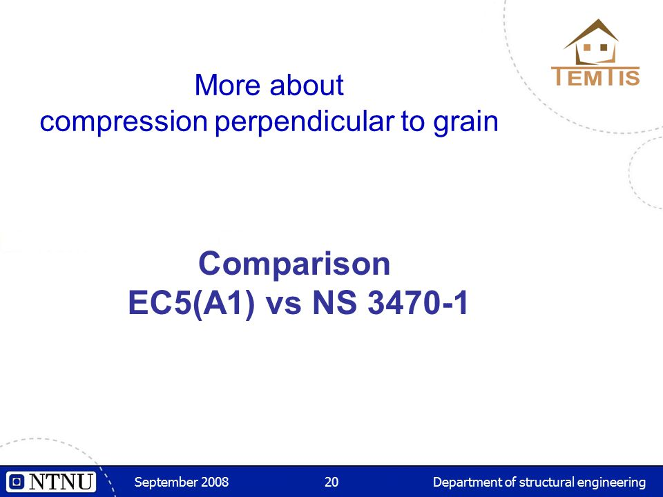 September 2008Department of structural engineering20 More about compression perpendicular to grain Comparison EC5(A1) vs NS 3470-1