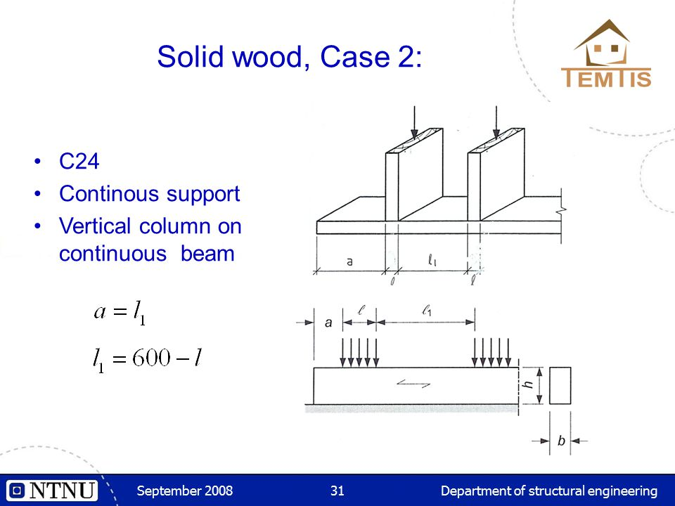 September 2008Department of structural engineering31 Solid wood, Case 2: C24 Continous support Vertical column on continuous beam