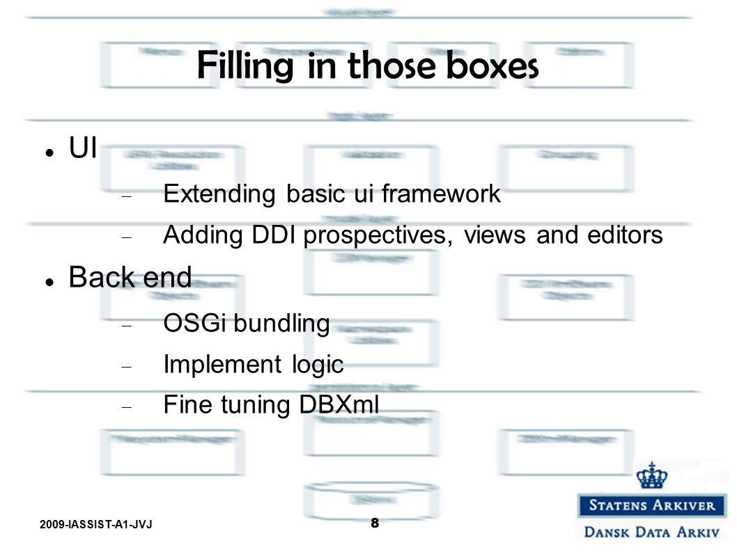 2009-IASSIST-A1-JVJ 8 Filling in those boxes UI  Extending basic ui framework  Adding DDI prospectives, views and editors Back end  OSGi bundling 