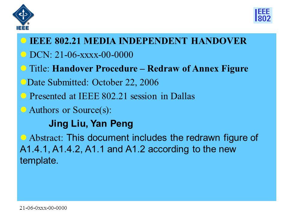 21-06-0xxx-00-0000 IEEE 802.21 MEDIA INDEPENDENT HANDOVER DCN: 21-06-xxxx-00-0000 Title: Handover Procedure – Redraw of Annex Figure Date Submitted: O