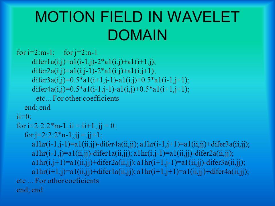 MOTION FIELD IN WAVELET DOMAIN for i=2:m-1; for j=2:n-1 difer1a(i,j)=a1(i-1,j)-2*a1(i,j)+a1(i+1,j); difer2a(i,j)=a1(i,j-1)-2*a1(i,j)+a1(i,j+1); difer3a(i,j)=0.5*a1(i+1,j-1)-a1(i,j)+0.5*a1(i-1,j+1); difer4a(i,j)=0.5*a1(i-1,j-1)-a1(i,j)+0.5*a1(i+1,j+1); etc...