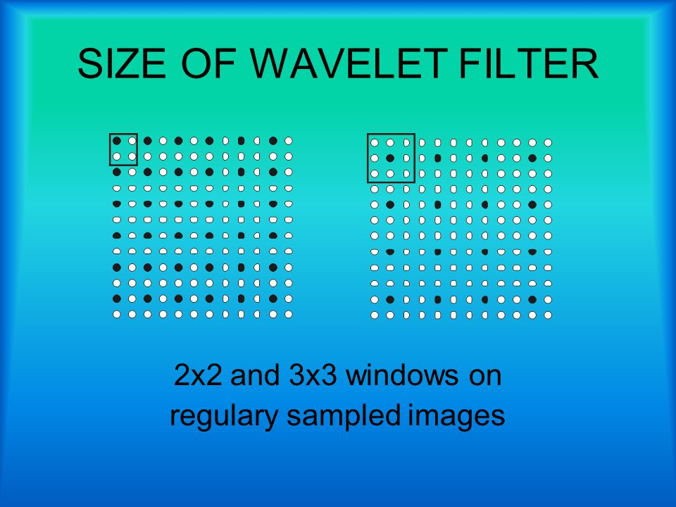 SIZE OF WAVELET FILTER 2x2 and 3x3 windows on regulary sampled images
