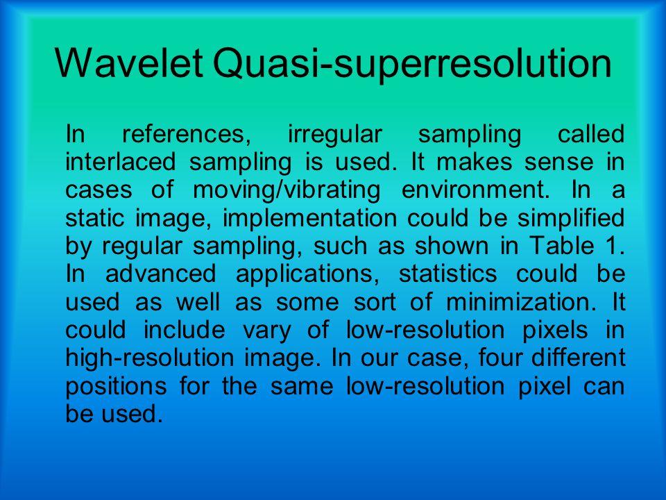 Wavelet Quasi-superresolution In references, irregular sampling called interlaced sampling is used.